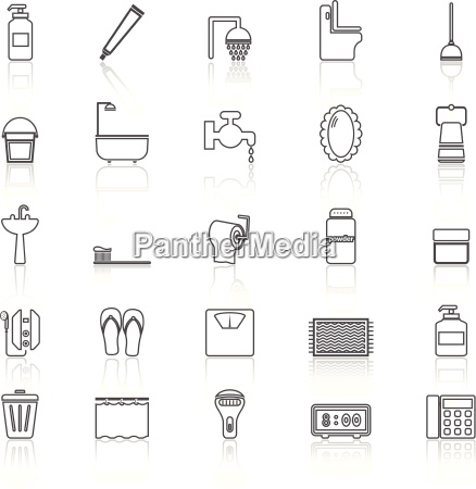bathroom line icons with reflect on
