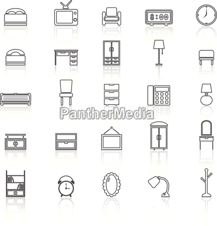 bedroom line icons with reflect on