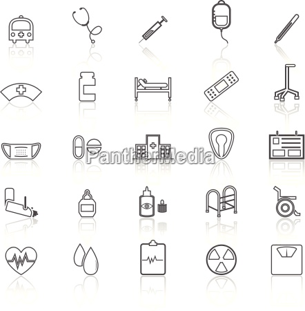 hospital line icons with refelct on