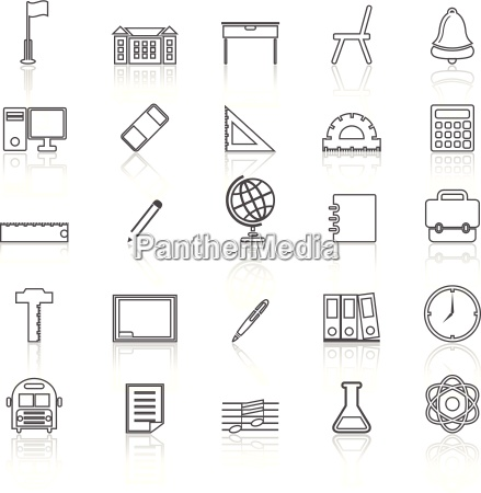 school line icons with reflect on