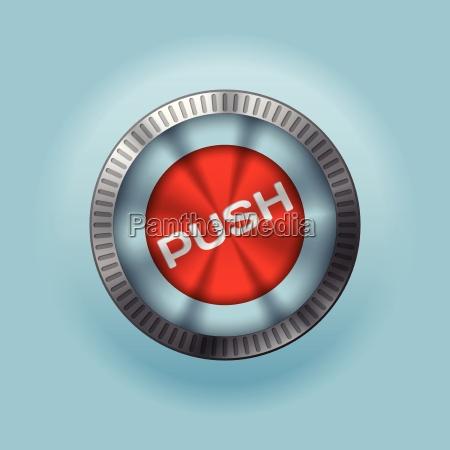 glaenzender metallic button mit push text