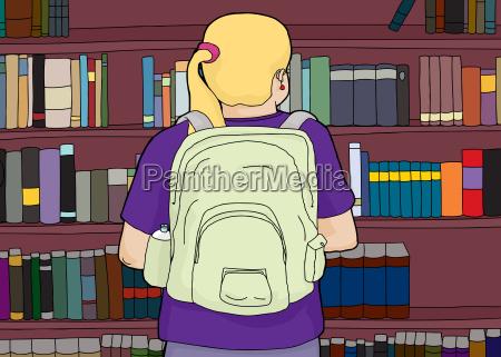 blonde frau mit rucksack auf bookshelf