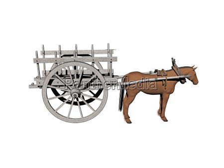 pferdegespann mit heukarren freigestellt
