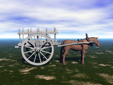 pferdegespann mit heukarren