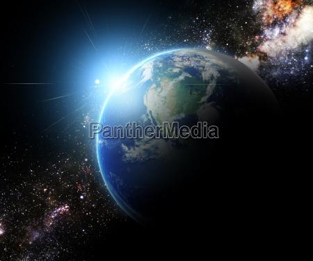 erde und sunbeam in galaxie raumelement