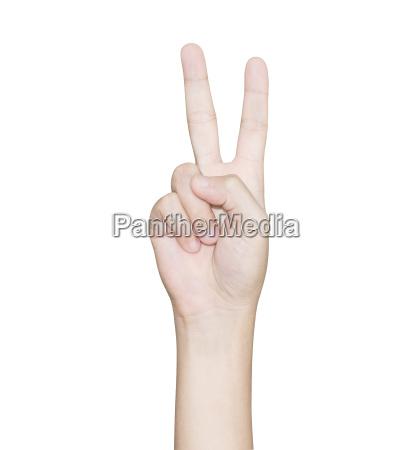 nahaufende hand geste sieg isolierten weissen