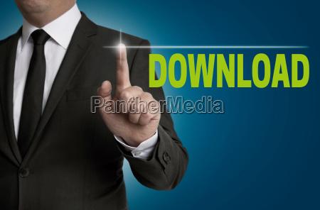 download touchsreen wird von geschaeftsmann bedient