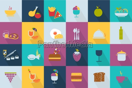 set of food icons web