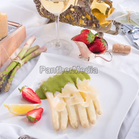 white asparagus with green sauce