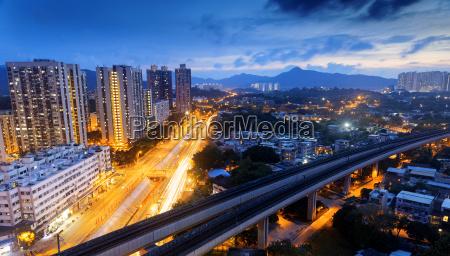 hong kong urban downtown and high