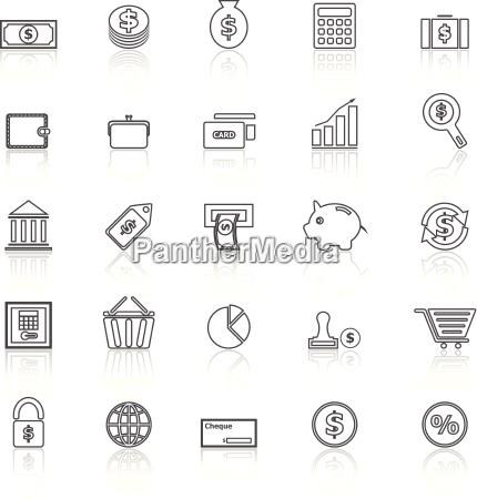 money line icons with reflect on