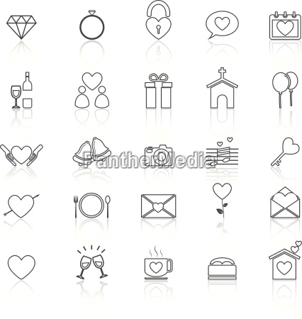 wedding line icons with reflect on