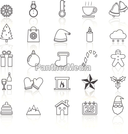 winter line icons with reflect on