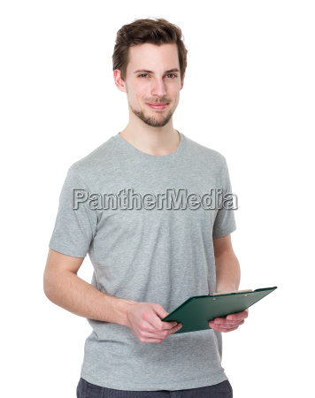 student hold with clipboard