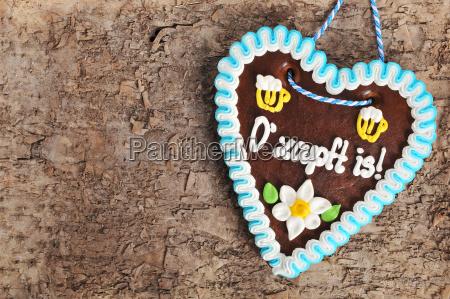 bavarian oktoberfest gingerbread heart