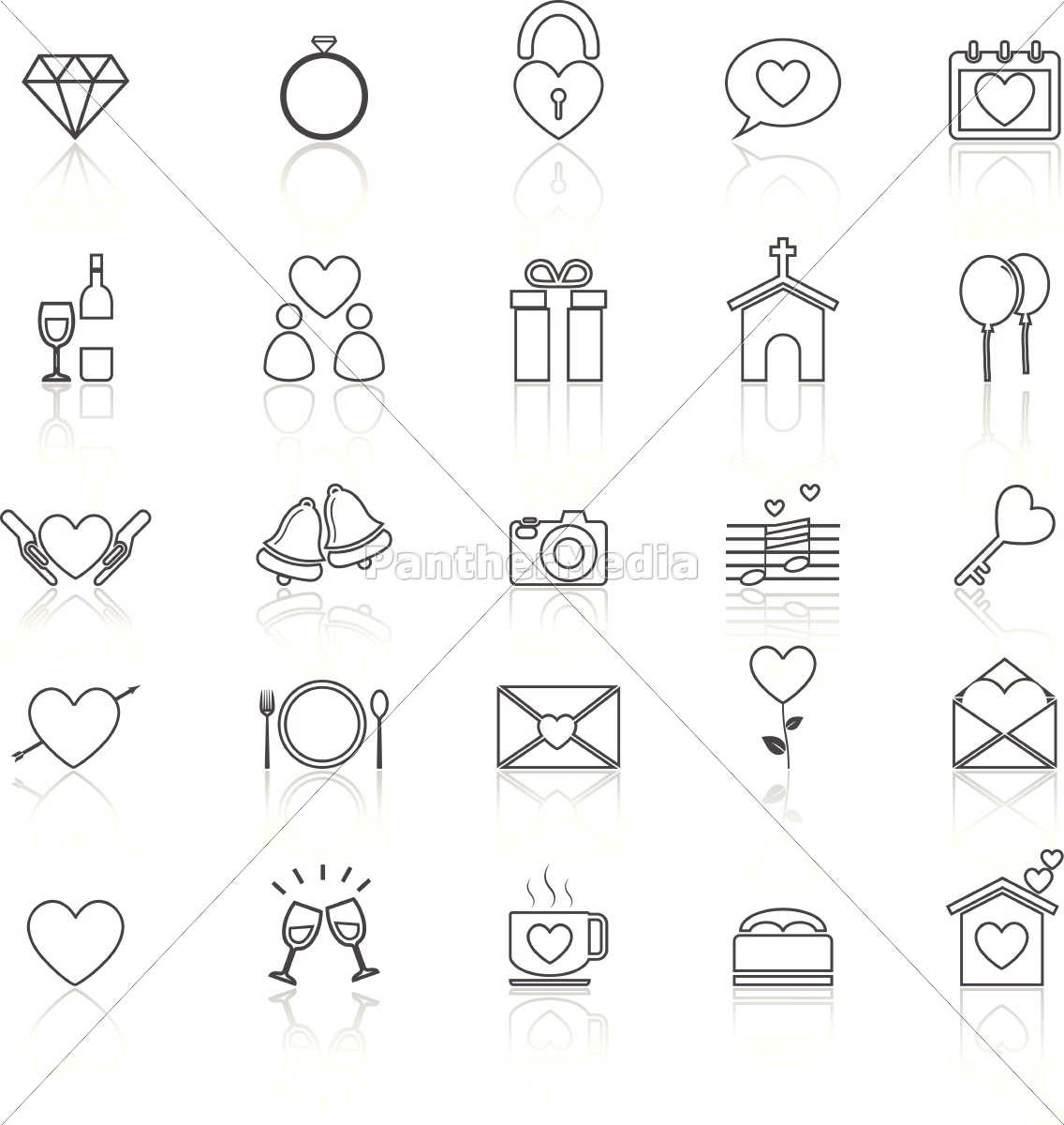 Hochzeit Linie Symbole Mit Reflektieren Auf Weissem Stockfoto