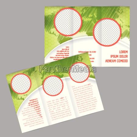 tri fold broschuere design mit weltkarte
