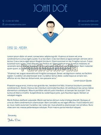 cover letter design with blue white