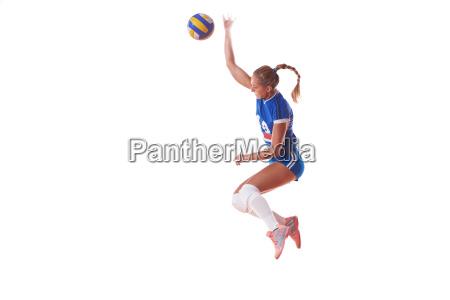 volleyball frau isoliert auf weissen hintergrund