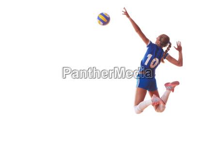 volleyball frau isoliert auf weissem hintergrund