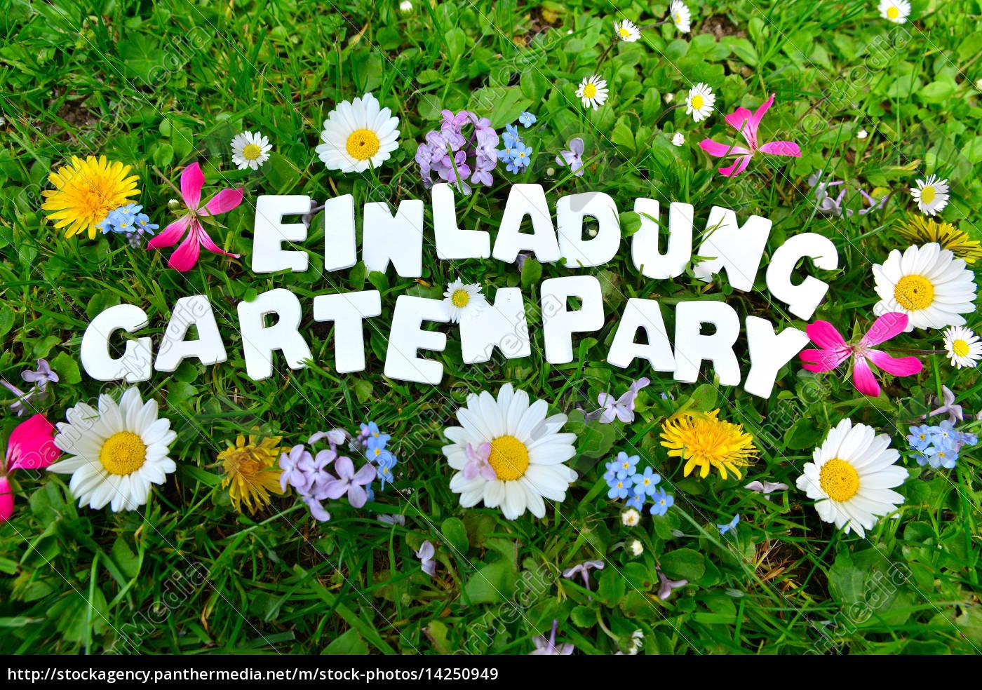 Gartenparty Gartenfest Text Lizenzfreies Bild 14250949