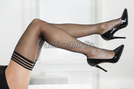 legs in stockings and high heels