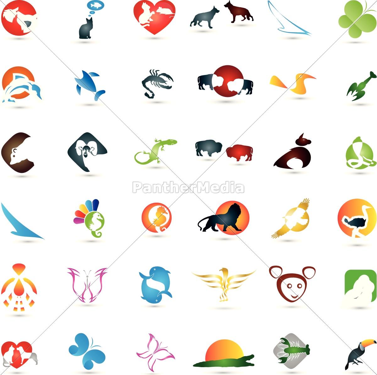 große, tier, sammlung, , logos - 14255943
