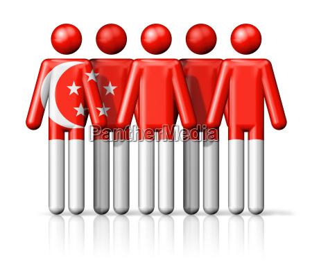 flagge von singapur auf strichmaennchen