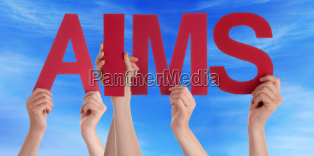 hands holding red straight word aims