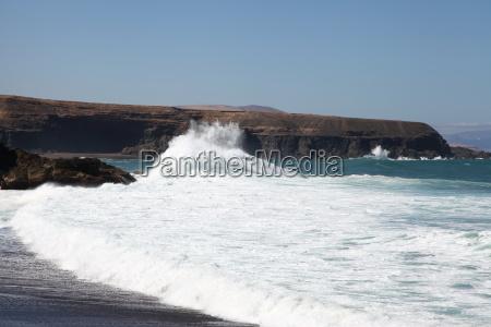 Fuerteventura, Kanarischen Inseln, Kanaren, Strand, Schwarzer Strand, Schwarzer Sand - 14258829