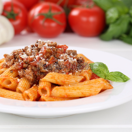 italian food penne rigate bolognese sauce