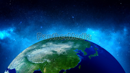 planet earth with sun in universe