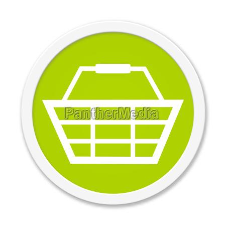 runder button zeigt einkaufskorb
