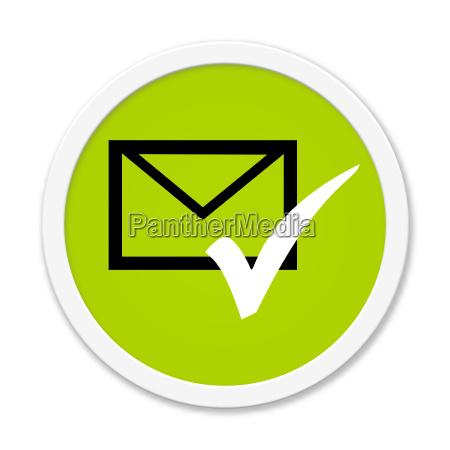 runder button zeigt briefumschlag und haken