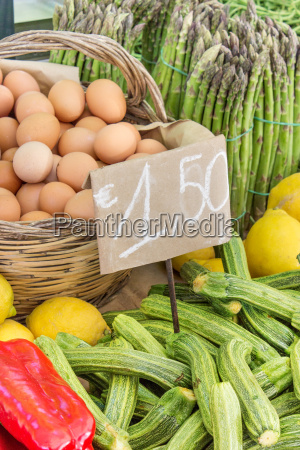 courgettes lemons eggs signs price tags