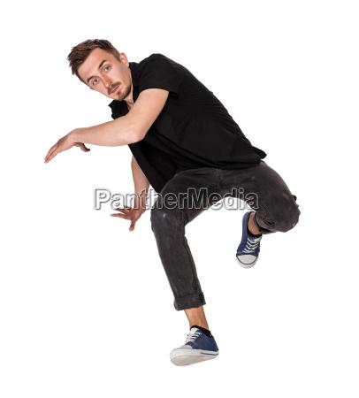 break dancer tun einhaendige handstand vor