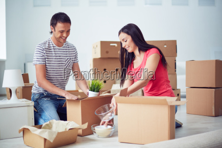 unpacking boxes