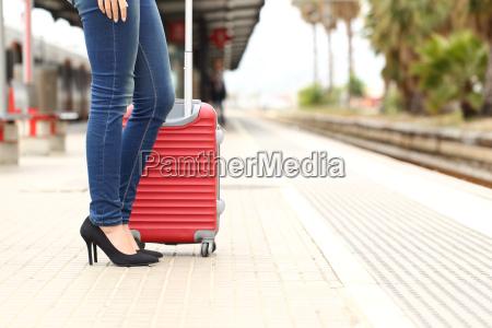 traveler tourist waiting in a train