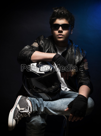stylish teen boy biker