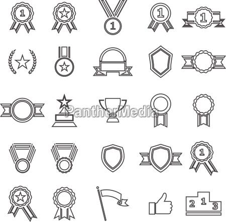 award line icons on white background