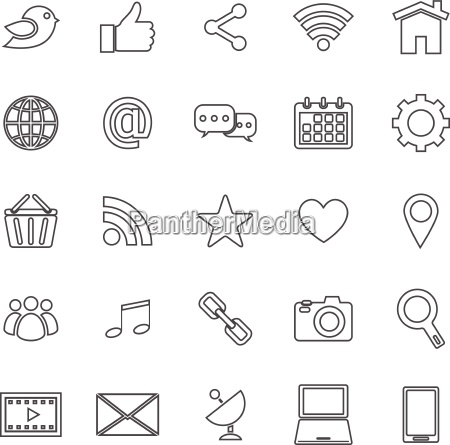 social media line icons on white