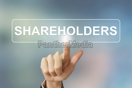 business hand clicking shareholders button on