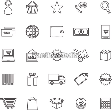 e commerce line icons on white