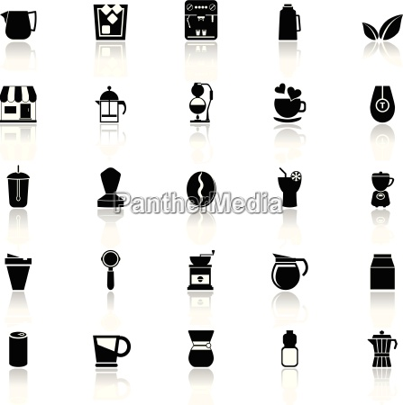 coffee and tea icons with reflect
