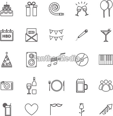 birthday line icons on white backgound