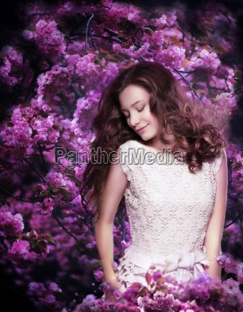 pure beauty dreamy young woman among