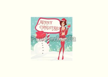 schoenes pin up girl in weihnachtlich