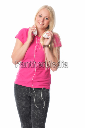 blond girl with headphones