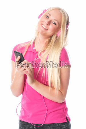 girl with headphones listening to cool