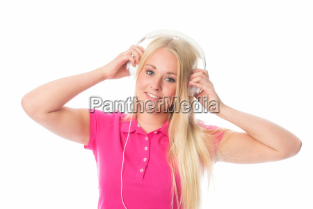 pretty blond girl with headphones